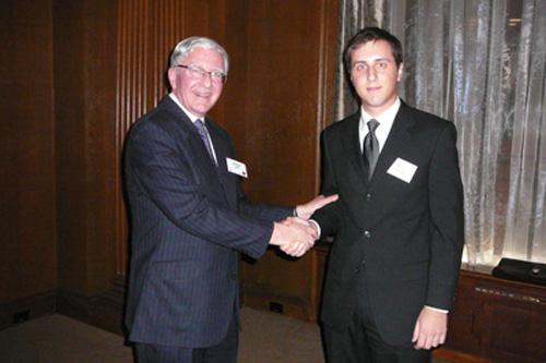 Ian Marshall congratulates Robert Gagliano, 2nd Prize winner 2010